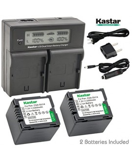 Kastar LCD Dual Smart Fast Charger & 2 x Battery for Panasonic CGR-DU14, CGA-DU14 and PV-GS31, PV-GS33,PV-GS34, PV-GS35, PV-GS39, PV-GS400, PV-GS500, PV-GS50, PV-GS50S, PV-GS55 Digital Camcorder