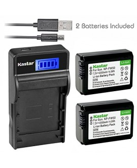 Kastar Battery (X2) & SLIM LCD Charger for Sony NP-FW50 and Alpha 7 7R 7R II 7S a7R a7S a7R II a5000 a5100 a6000 a6300 NEX-7 SLT-A37 DSC-RX10 DSC-RX10 II III 7SM2 ILCE-7R 7S QX1 5100 6000 VG-C1EM C2EM