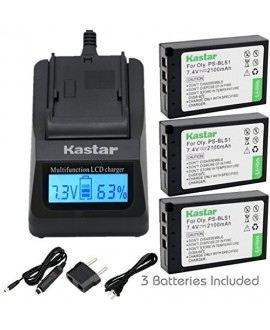 Kastar Ultra Fast Charger(3X faster) Kit and Battery (3-Pack) for Olympus BLS-1, PS-BLS1 work for Olympus E-400 E-410 E-420 E-450 E-600 E-620 E-P1 E-P2 E-P3 E-PL1 E-PL3 E-PM1 Cameras [Over 3x faster than a normal charger with portable USB charge function]
