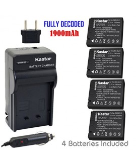 Kastar Battery (4-Pack) and Charger Kit for Panasonic DMW-BCJ13 DMW-BCJ13E DMW-BCJ13PP Leica BP-DC10/DC10-E/DC10-U and Panasonic Lumix DMC-LX5 DMC-LX55 DMC-LX5K DMC-LX5W DMC-LX7 Leica D-Lux 5 D-Lux 6
