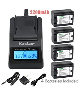 Kastar Ultra Fast Charger(3X faster) Kit and Battery (4-Pack) for Panasonic VW-VBK180 work with Panasonic HC-V10, HC-V100, HC-V100M, HC-V500, HC-V500M, HC-V700, HC-V700M, HDC-HS60, HDC-HS80, HDC-SD40, HDC-SD60, HDC-SD80, HDC-SD90, HDC-SDX1H, HDC-TM40, HDC