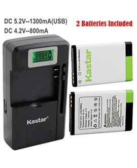 Kastar BL-5C Battery (2-Pack) and intelligent mini travel Charger ( with high speed portable USB charge function) for NOKIA 1100,2112,2270,2280,2285,2300,2600,2850,3100,3105,3120,3600,3620,3650,3660,5140,6108,6280,5030,5130,6030,6085,6086,6230,6230i,6267,