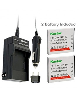 Kastar Battery (2-Pack) and Charger Kit for Casio NP-60 NP60 CNP60 and Casio Exilim EX-FS10 EX-S10 EX-S12 EX-Z9 EX-Z19 EX-Z20 EX-Z21 EX-Z25 EX-Z29 EX-Z80 EX-Z85 EX-Z90 Digital Cameras