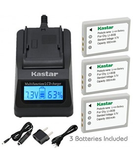 Kastar Ultra Fast Charger(3X faster) Kit and Battery (3-Pack) for Olympus Li-80B and Konica Minolta NP-900 work with Olympus T-100,t-110,x-36 and Konica Minolta DiMAGE E40, E50, KYOCERA EZ4033 etc. Cameras [Over 3x faster than a normal charger with portab