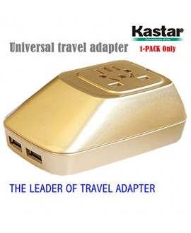 Kastar Safety International Power Adapter, Universal World-Wide Travel AC Adapter with 2.1A Dual USB Charger All-in-one AC Power Plug For AUS USA EU UK--Supper Fast and from USA--3-YEAR Manufacturer Warranty
