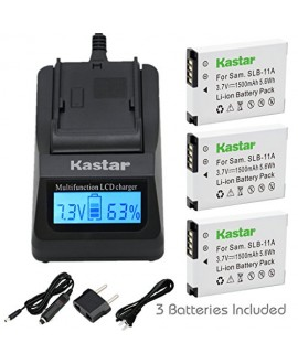 Kastar Fast Charger Kit and Battery (3-Pack) for Samsung SLB-11A and Samsung WB600 WB650 WB700 WB1000 WB2000 CL65 CL80 EX1 HZ25W HZ30W HZ35W HZ50W ST1000 ST5000 ST5500 TL240 TL320 TL350 TL500 Cameras