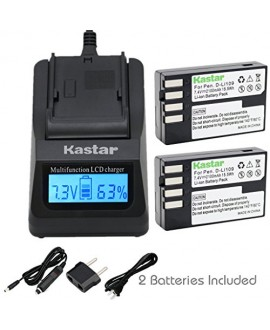 Kastar Ultra Fast Charger(3X faster) Kit and D-Li109 Battery (2-Pack) for Pentax D-Li109, DLI109 work with Pentax K-R, K-30, K-50, K-500, KR, K30, K50, K500 Cameras
