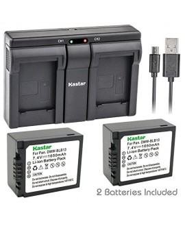 Kastar BLB13 2x Battery + USB Dual Charger for Panasonic DMW-BLB13, DMW-BLB13E, DMW-BLB13GK and Panasonic DE-A49, DE-A49C work with Panasonic Lumix DMC-G1, DMC-G2, DMC-G10, DMC-GF1, DMC-GH1 Cameras