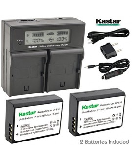 Kastar LCD Dual Fast Charger & 2 x Battery for Canon LP-E10, LC-E10 and Canon EOS 1100D, EOS 1200D, EOS Rebel T3, EOS Rebel T5, EOS Kiss X50, EOS Kiss X70 DSLR Camera & Canon LPE10 Grip