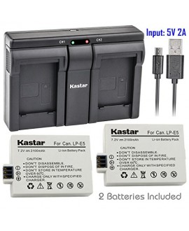 Kastar LPE5 2x Battery + USB Dual Charger for Canon LP-E5 LPE5 and Canon EOS Rebel XS, Rebel T1i, Rebel XSi, 1000D, 500D, 450D, Kiss X3, Kiss X2, Kiss F digital camera, BG-E5 grip