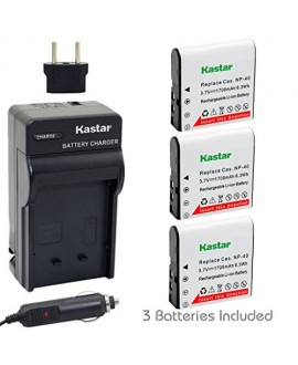 Kastar CNP-40 Battery (3-Pack) and Charger Kit for Kodak LB-060 AZ521 AZ361 AZ501 AZ522 AZ362 AZ526 and HP D3500 SKL-60 V5060H V5061U Cameras