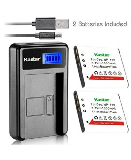 Kastar Battery (X2) & LCD Slim USB Charger for Casio NP-120, NP120, CNP120 and Casio Exilim EX-S200 EX-S300 EX-Z31 EX-Z680 EX-Z690 EX-ZS10 EX-ZS12 EX-ZS15 EX-ZS20 EX-ZS26 EX-ZS30 Digital Camera