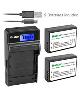 Kastar Battery (X2) & SLIM LCD Charger for Canon LP-E10, LC-E10 and Canon EOS 1100D, EOS 1200D, EOS Rebel T3, EOS Rebel T5, EOS Kiss X50, EOS Kiss X70 DSLR Camera & Canon LPE10 Grip