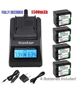 Kastar Ultra Fast Charger(3X faster) Kit and Battery (4-Pack) for Panasonic VW-VBN130 and Panasonic HC-X800 HC-X900 HC-X900M HC-X910 HC-X920 HC-X920M HDC-HS900 HDC-SD800 HDC-SD900 HDC-TM900 Cameras