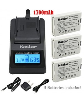 Kastar Ultra Fast Charger(3X faster) Kit and BP110 Battery (3-Pack) for Canon BP-110 and Canon VIXIA HF R20, HF R21, HF R200, HF R26, HF R28, HF R206, XF105 Cameras [with portable USB charge function]