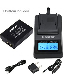 Kastar Ultra Fast Charger(3X faster) Kit and Battery (1-Pack) for Canon LP-E17 Battery LC-E17, LC-E17C Charger and Canon EOS M3, EOS Rebel T6i, EOS Rebel T6s, EOS 750D, EOS 760D, EOS 8000D, Kiss X8i
