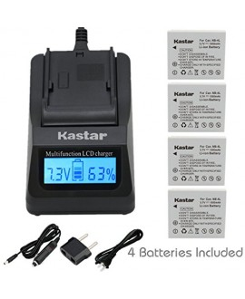Kastar Ultra Fast Charger(3X faster) Kit and Battery (4-Pack) for Canon NB-4L, CB-2LV and Canon PowerShot SD1000 SD1100IS SD1400IS SD200 SD30 SD300 SD400 SD430 SD600