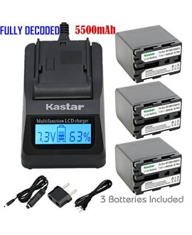 Kastar Ultra Fast Charger Kit and Battery (3-Pack) for Sony NP-QM91D NP-QM71D work with Sony CCD-TR108 TR208 TR408 TR748 TRV106 TRV107 TRV108 TRV116 TRV118 TRV126 TRV128 TRV138 TRV208 TRV218 TRV250 TRV255 TRV260 TRV265 TRV270 TRV280 TRV285 TRV300 TRV325 T
