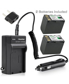 Kastar Battery (X2) & Travel Charger Kit for JVC BN-VF823 BNVF823 and Everio GS-TD1 GY-HM70U HM100U HM150U HMZ1U MG230 MG360 MG365 MG430 MG435 MG465 MG555 MG730 MS120 MS130 HD3 HM1 HM200 HM400 X900r