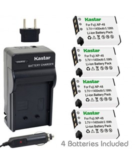 Kastar NP-48 Battery (4-Pack) and Charger Kit for Fujifilm NP-48, FNP48, BC-48 work with Fujifilm XQ1, XQ2 Digital Cameras