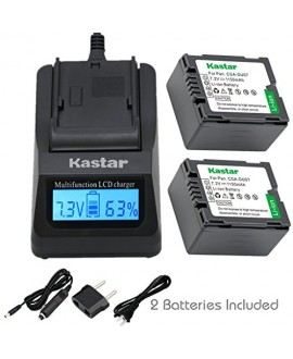 Kastar Fast Charger and Battery (2-Pack) for Panasonic CGA-DU06 CGA-DU07 CGA-DU14 CGA-DU21 VW-VBD070 VBD140 VBD210 and PV-GS31 PV-GS33PV-GS34 PV-GS35 PV-GS39 PV-GS400 PV-GS500 PV-GS50 PV-GS50S PV-GS55