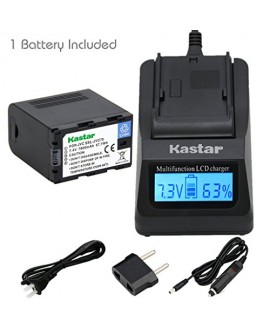 Kastar Ultra Fast Charger(3X faster) Kit and Battery (1-Pack) for JVC SSL-JVC70 and JVC GY-HMQ10, GY-LS300, GY-HM200, GY-HM600, GY-HM600E, GY-HM600EC, GY-HM650 Camcorders