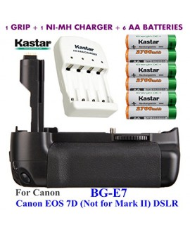 Kastar Pro Multi-Power Vertical Battery Grip (Replacement for BG-E7) + 6x AA NI-MH Batteries(2700mAh) + NI-MH Charger for Canon EOS 7D (Not for Mark II) Digital SLR Camera