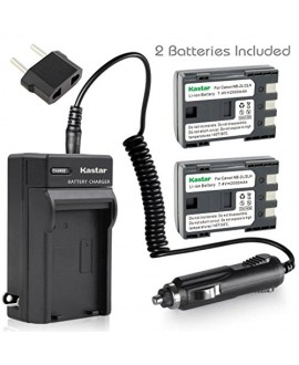 Kastar Battery (X2) & Travel Charger Kit for Canon NB-2LH NB-2L NB2LH NB2L BP2L and Canon Elura 85 90 MV800 800i 900 920 EOS 350D 400D PowerShot G7 G9 S70 S80 R100 R11 Camera
