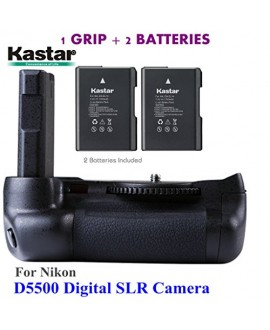 Kastar Pro Multi-Power Vertical Battery Grip + 2x EN-EL14 EN-EL4a Replacement Batteries for Nikon D5500 Digital SLR Camera