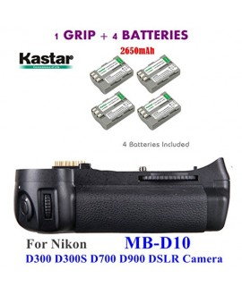 Kastar Pro Multi-Power Vertical Battery Grip (Replacement for MB-D10) + 4x EN-EL3e Replacement Batteries for Nikon D300 D300S D700 D900 Digital SLR Camera