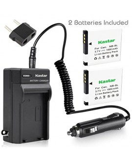 Kastar Battery (X2) & Travel Charger Kit for Canon NB-8L, NB8L, CB-2LAE and Canon PowerShot A2200, PowerShot A3000 IS, PowerShot A3100 IS, PowerShot A3200 IS, PowerShot A3300 IS Cameras
