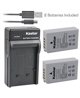Kastar Battery (X2) & Slim USB Charger for Nikon EN-EL24 ENEL24 Rechargeable Li-ion Battery work with Nikon 1 J5 Camera