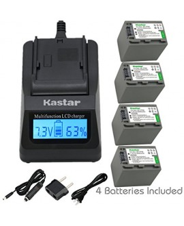 Kastar Ultra Fast Charger(3X faster) Kit and Battery (4-Pack) for Sony NP-FP90 and Sony DCR-30, DVD92, DVD103, DVD105, DVD202, DVD203, DVD205, DVD304, DVD305, DVD403, DVD404, DVD405, DVD505, DVD602, DVD605, DVD653, DVD703, DVD705, DVD755, DVD803, DVD805,