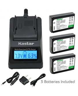 Kastar Ultra Fast Charger(3X faster) Kit and Battery (3-Pack) for Samsung BP1310, ED-BP1310 work for Samsung NX5, NX10, NX11, NX20, NX100 Cameras [Over 3x faster than a normal charger with portable USB charge function]