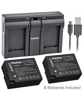 Kastar BLC12 2x Battery + USB Dual Charger for Panasonic DMW-BLC12, DMW-BLC12E, DMW-BLC12PP and Panasonic Lumix DMC-FZ200, DMC-FZ1000, DMC-G5, DMC-G6, DMC-GH2 Digital Cameras