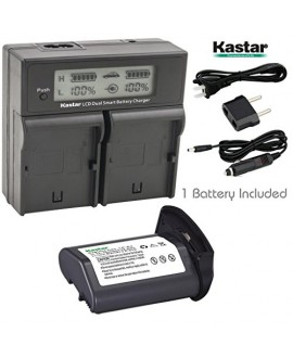 Kastar LCD Dual Smart Fast Charger & Battery (1 PACK) for Canon LP-E4, LPE4 (11.1V 4400mAh 48.4Wh) and Canon EOS-1D C, EOS-1D Mark III, EOS-1Ds Mark III, EOS-1D Mark IV Cameras