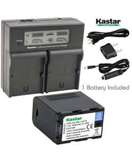 Kastar LCD Dual Smart Fast Charger & Battery (1 PACK) for JVC SSL-JVC70 and JVC GY-HMQ10, GY-LS300, GY-HM200, GY-HM600, GY-HM600E, GY-HM600EC, GY-HM650 Camcorders