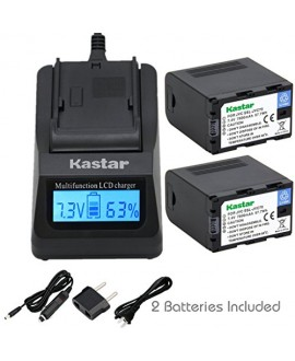 Kastar Ultra Fast Charger(3X faster) Kit and Battery (2-Pack) for JVC SSL-JVC70 and JVC GY-HMQ10, GY-LS300, GY-HM200, GY-HM600, GY-HM600E, GY-HM600EC, GY-HM650 Camcorders