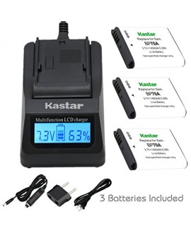 Kastar Ultra Fast Charger Kit and BP-70A Battery (3-Pack) for Samsung BP70A, EA-BP70A work with Samsung AQ100, DV150F, ES65, ES67, ES70, ES71, ES73, ES74, ES75, ES80, MV800, PL20, PL80, PL90, PL100, PL101, PL120, PL170, PL200, PL201, SL50, SL600, SL605, S
