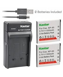Kastar Battery (X2) & Slim USB Charger for Casio NP-60 CNP60 Exilim Zoom EX-Z19 EX-Z19BK EX-Z19GN EX-Z19LP EX-Z19PK EX-Z19SR EX-Z20 EX-Z85VP EX-Z85 EX-Z85BE EX-Z85BK EX-Z85BN Digital Camera