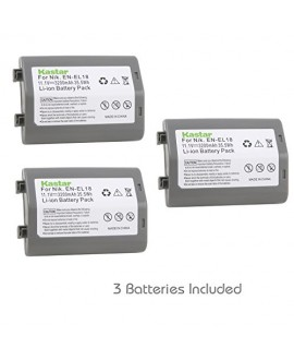 Kastar Battery (3-Pack) for Nikon EN-EL18, EN-EL18a, ENEL18, ENEL18a, MH-26, MH-26a, MH26 and Nikon D4, D4S, D5 Digital SLR Camera, Nikon MB-D12, D800, D800E Battery Grip