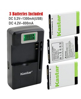 Kastar BL-44JN Battery (3-Pack) and intelligent mini travel Charger ( with high speed portable USB charge function) forLG P970, LG Connect 4G MS840, Enlighten VS700, Marquee LS855, myTouch E739, Optimus Slider LS700, LG Optimus ZIP LGL75C, LG Optimus Hub