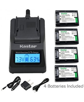 Kastar Ultra Fast Charger(3X faster) Kit and Battery (4-Pack) for Sony NP-FV30, NP-FV40, NP-FV50 work with Sony DCR-SR88, SX85, FDR-AX100, HDR-CX160, CX190, CX380, CX430V, CX520V, CX550V, CX560V, CX580V, CX700V, CX760V, CX900, HC9, PJ260V, PJ340, PJ380, P