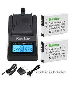 Kastar Fast Charger Kit and Battery (2-Pack) for Samsung SLB-11A and Samsung WB600 WB650 WB700 WB1000 WB2000 CL65 CL80 EX1 HZ25W HZ30W HZ35W HZ50W ST1000 ST5000 ST5500 TL240 TL320 TL350 TL500 Cameras
