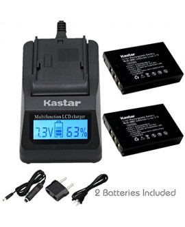 Kastar Fast Charger and KLIC-5001 Battery (2-Pack) for Kodak Easyshare P712 P850 Z730 Z760 Z7590 DX6490 DX7440 DX7590 DX7630 Zoom Sanyo DB-L50 DMX-WH1 HD1010 FH11 HD2000 VPC-WH1 HD2000 HD1010 HD1000