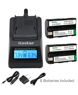 Kastar Ultra Fast Charger(3X faster) Kit and Battery (2-Pack) for Sony NP-FS11, NP-F10, NP-FS10, NP-FS12, FS21, FS31 work with Sony CCD-CR1, CCD-CR5, DCR-PC1, DCR-PC2, DCR-PC3, DCR-PC4, DCR-PC5, DCR-TRV1VE, Cyber-shot DSC-F505, DSC-F55, DSC-F55, DSC-P1, D