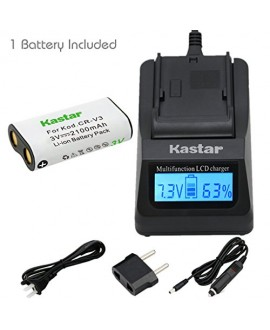 Kastar Ultra Fast Charger(3X faster) Kit and Battery (1-Pack) for CR-V3 work with Canon PowerShot A60,70,75,300,Nikon Coolpix 600,700,800,950,990,2100,2200,3100,3200,Olympus C3000,D565,D-100,D-150,D-230,D-370,D-380,D-390,D-460,D-490,D-560Z,Pentax Digibino
