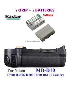 Kastar Pro Multi-Power Vertical Battery Grip (Replacement for MB-D10) + 2x EN-EL3e Replacement Batteries for Nikon D300 D300S D700 D900 Digital SLR Camera