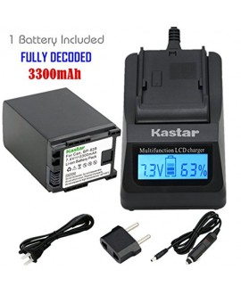 Kastar Ultra Fast Charger Kit + BP-828 Battery (1-Pack) for Canon BP-828 and Canon VIXIA HF G30, XA20, XA25 Camcorders [Over 3x faster than a normal charger with portable USB charge function]