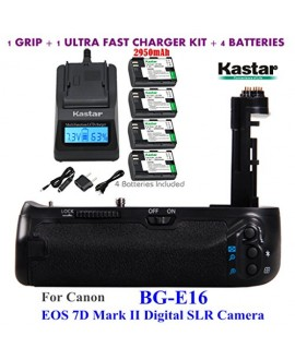 Kastar Pro Multi-Power Vertical Battery Grip (Replacement for BG-E16) + 4x LP-E6 Replacement Batteries + Ultra Fast Charger Kit for Canon EOS 7D Mark II (Not for EOS 7D) Digital SLR Camera